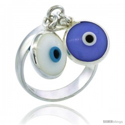 Sterling Silver White & Blue Color Double Evil Eye Ring