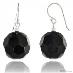 "Sterling Silver Dangle Earrings, w/ Faceted Black Obsidian Beads, 1 1/4"" (31 mm) tall"