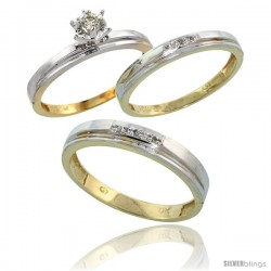 10k Yellow Gold Diamond Trio Wedding Ring Set His 4mm & Hers 3mm