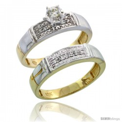 10k Yellow Gold Ladies' 2-Piece Diamond Engagement Wedding Ring Set, 3/16 in wide -Style 10y107e2