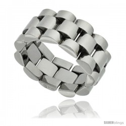 Surgical Steel Rolex Type Ring 10mm Wedding Band Polished Finish