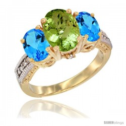 10K Yellow Gold Ladies 3-Stone Oval Natural Peridot Ring with Swiss Blue Topaz Sides Diamond Accent