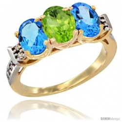 10K Yellow Gold Natural Peridot & Swiss Blue Topaz Sides Ring 3-Stone Oval 7x5 mm Diamond Accent