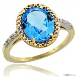10k Yellow Gold Diamond Swiss Blue Topaz Ring 2.4 ct Oval Stone 10x8 mm, 1/2 in wide -Style Cy904111