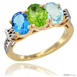 10K Yellow Gold Natural Swiss Blue Topaz, Peridot & Aquamarine Ring 3-Stone Oval 7x5 mm Diamond Accent