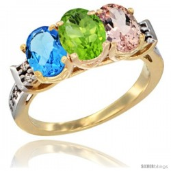 10K Yellow Gold Natural Swiss Blue Topaz, Peridot & Morganite Ring 3-Stone Oval 7x5 mm Diamond Accent