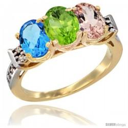 10K Yellow Gold Natural Swiss Blue Topaz, Peridot & Morganite Ring 3-Stone Oval 7x5 mm Diamond Accent