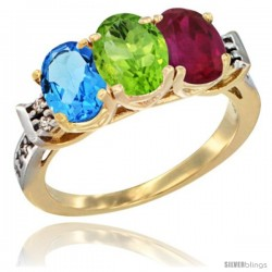 10K Yellow Gold Natural Swiss Blue Topaz, Peridot & Ruby Ring 3-Stone Oval 7x5 mm Diamond Accent