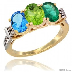 10K Yellow Gold Natural Swiss Blue Topaz, Peridot & Emerald Ring 3-Stone Oval 7x5 mm Diamond Accent