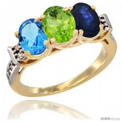 10K Yellow Gold Natural Swiss Blue Topaz, Peridot & Blue Sapphire Ring 3-Stone Oval 7x5 mm Diamond Accent