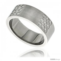 Stainless Steel 8mm Wedding Band Ring Dotted Design Matte Finish