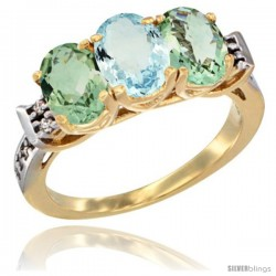 10K Yellow Gold Natural Aquamarine & Green Amethyst Sides Ring 3-Stone Oval 7x5 mm Diamond Accent