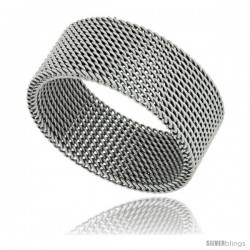 Surgical Steel Mesh Ring 10 mm Wedding Band