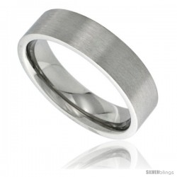 Surgical Steel 6mm Wedding Band Thumb Ring Comfort-Fit Matte Finish
