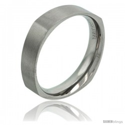 Surgical Steel 6mm Square Wedding Band Ring Matte Finish Comfort-fit