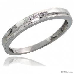 10k White Gold Ladies Diamond Wedding Band Ring 0.02 cttw Brilliant Cut, 1/8 in wide -Style 10w006lb