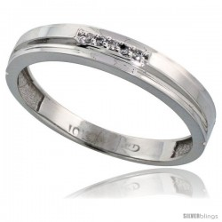 10k White Gold Mens Diamond Wedding Band Ring 0.03 cttw Brilliant Cut, 5/32 in wide