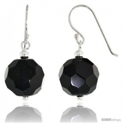 "Sterling Silver Dangle Earrings, w/ Faceted Black Obsidian Beads, 1 1/8"" (29 mm) tall"