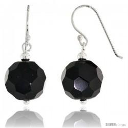 "Sterling Silver Dangle Earrings, w/ Faceted Black Obsidian Beads, 1 1/8"" (29 mm) tall"