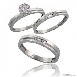 10k White Gold Diamond Trio Engagement Wedding Rings Set for Him 4mm & Her 3 mm 3-piece 0.10 cttw Brilliant Cut