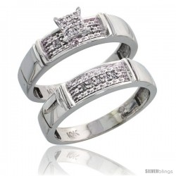 10k White Gold Diamond Engagement Rings Set 2-Piece 0.10 cttw Brilliant Cut, 3/16 in wide