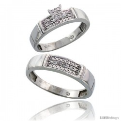 10k White Gold Diamond Engagement Rings 2-Piece Set for Men and Women 0.10 cttw Brilliant Cut, 4.5mm & 5mm wide