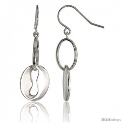 "High Polished Oval Cut Out Dangle Earrings in Sterling Silver, 1 3/16"" (30 mm) tall"