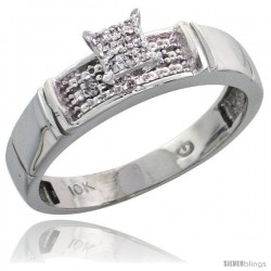 10k White Gold Diamond Engagement Ring 0.07 cttw Brilliant Cut, 3/16 in wide