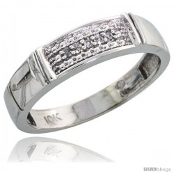 10k White Gold Ladies Diamond Wedding Band Ring 0.03 cttw Brilliant Cut, 3/16 in wide