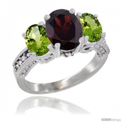 14K White Gold Ladies 3-Stone Oval Natural Garnet Ring with Peridot Sides Diamond Accent