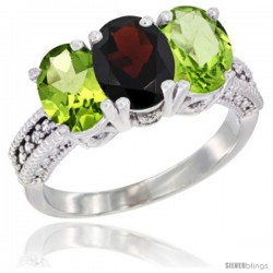 14K White Gold Natural Garnet & Peridot Sides Ring 3-Stone 7x5 mm Oval Diamond Accent
