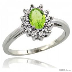 14k White Gold Peridot Diamond Halo Ring Oval Shape 1.2 Carat 6X4 mm, 1/2 in wide