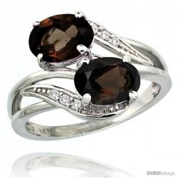 14k White Gold ( 8x6 mm ) Double Stone Engagement Smoky Topaz Ring w/ 0.07 Carat Brilliant Cut Diamonds & 2.34 Carats Oval Cut