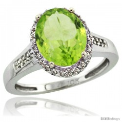 14k White Gold Diamond Peridot Ring 2.4 ct Oval Stone 10x8 mm, 1/2 in wide