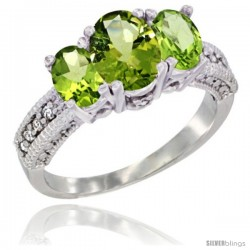 14k White Gold Ladies Oval Natural Peridot 3-Stone Ring Diamond Accent