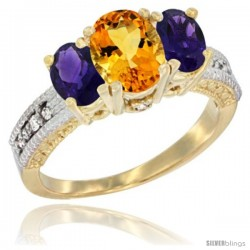 14k Yellow Gold Ladies Oval Natural Citrine 3-Stone Ring with Amethyst Sides Diamond Accent