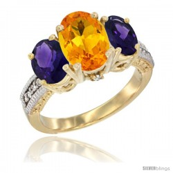 14K Yellow Gold Ladies 3-Stone Oval Natural Citrine Ring with Amethyst Sides Diamond Accent