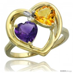 14k Yellow Gold 2-Stone Heart Ring 6mm Natural Amethyst & Citrine Diamond Accent