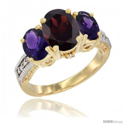 14K Yellow Gold Ladies 3-Stone Oval Natural Garnet Ring with Amethyst Sides Diamond Accent