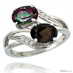 14k White Gold ( 8x6 mm ) Double Stone Engagement Smoky & Mystic Topaz Ring w/ 0.07 Carat Brilliant Cut Diamonds & 2.34 Carats