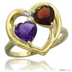 14k Yellow Gold 2-Stone Heart Ring 6mm Natural Amethyst & Garnet Diamond Accent