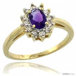 14k Yellow Gold Amethyst Diamond Halo Ring Oval Shape 1.2 Carat 6X4 mm, 1/2 in wide