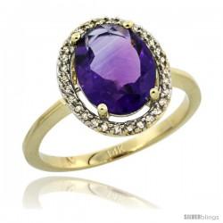 14k Yellow Gold Diamond Halo Amethyst Ring 2.4 carat Oval shape 10X8 mm, 1/2 in (12.5mm) wide