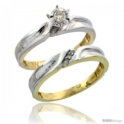 10k Yellow Gold Ladies' 2-Piece Diamond Engagement Wedding Ring Set, 1/8 in wide -Style 10y108e2