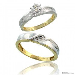 10k Yellow Gold 2-Piece Diamond wedding Engagement Ring Set for Him & Her, 3.5mm & 5mm wide
