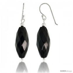 "Sterling Silver Dangle Earrings, w/ Beads & Faceted Oval Black Obsidian, 1 9/16"" (40 mm) tall"
