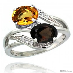 14k White Gold ( 8x6 mm ) Double Stone Engagement Smoky Topaz & Citrine Ring w/ 0.07 Carat Brilliant Cut Diamonds & 2.34 Carats