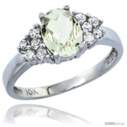 14k White Gold Ladies Natural Green Amethyst Ring oval 8x6 Stone Diamond Accent