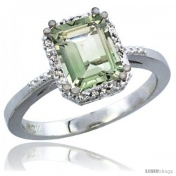 14k White Gold Ladies Natural Green Amethyst Ring Emerald-shape 8x6 Stone Diamond Accent