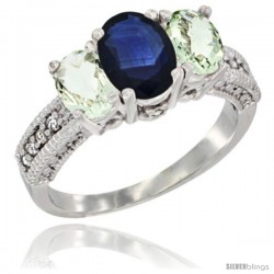 14k White Gold Ladies Oval Natural Blue Sapphire 3-Stone Ring with Green Amethyst Sides Diamond Accent